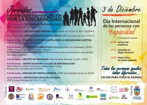 El Ayuntamiento se suma a la conmemoración del Día Internacional de la Discapacidad con una semana de propuestas de visibilización e información
