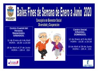 Bailes de fines de semana de enero a junio de 2020